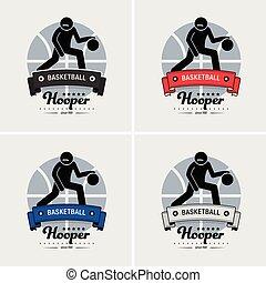 club, logotipo, pallacanestro, design.