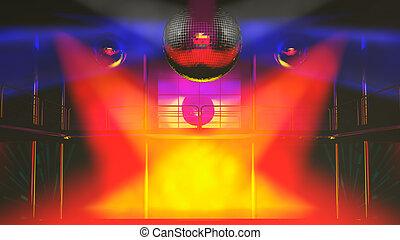 club, lumières, discothèque, coloré, nuit