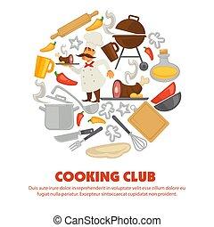 club, manifesto, cottura, chef, promo, utensili cucina