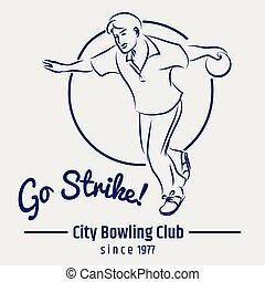 club, manifesto, grigio, fondale, bowling