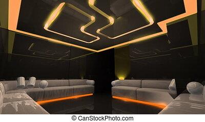 club, mené, disco, lumière, salle