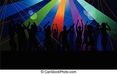 club, menigte, dancing