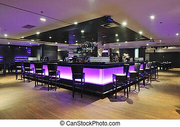 club, moderne, barre, intérieur