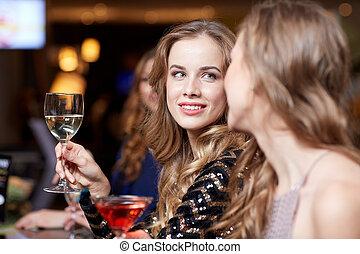 club, mujeres, noche, bebidas, feliz
