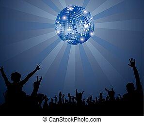 club, multitud, noche