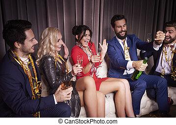 club, nacht, vrolijk, vieren, jaar, nieuw, vrienden
