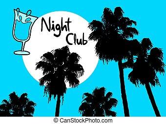 club, noche de palmera