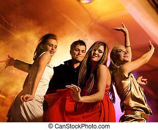 club, noche, gente, bailando