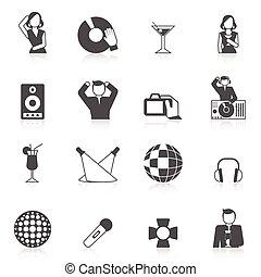 club nocturno, conjunto, icono