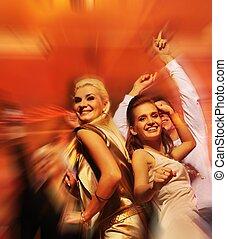 club, notte, persone, ballo