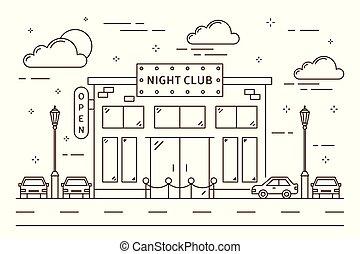 club, nuit, bâtiment.