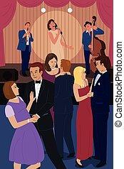 club, nuit, jazz, gens, danse