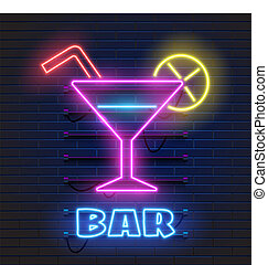 club, oscuridad, barra, alcohol, banner., pared, gas, neón, ...