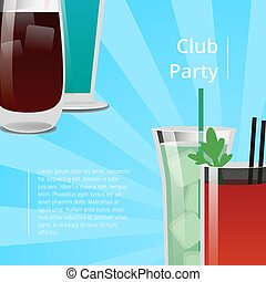 Club Party Poster with Bloody Mary Cocktail Vector - Club...