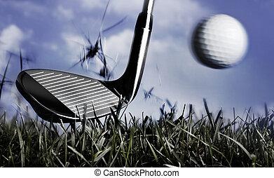 club, pelota de golf, pasto o césped