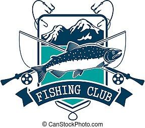 Club, pez,  Salmón,  vector, pesca, icono