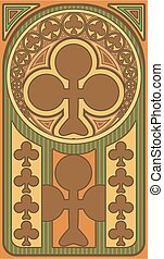 Club poker playing art nouveau cards, vector illustration