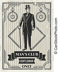 club, poster, heer, ontwerp, retro, mal