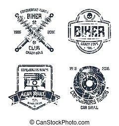 club, réparation, emblèmes, motard, voiture