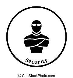 club, sécurité, nuit, icône