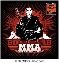 club, samurai, katana., impresión, pelea