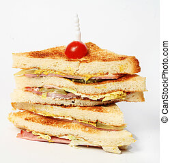 Club sandwich - A club sandwich on a white background.