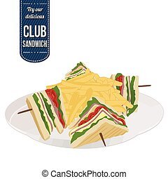 Club sandwich and french fries on white background, vector...
