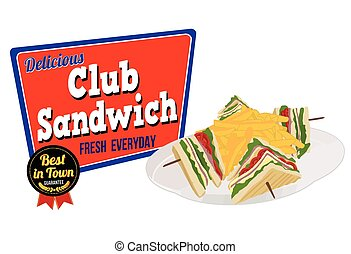 Club Sandwich icon on white background, vector illustration