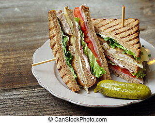 Club sandwich on a plate - Photo of a club sandwich made ...