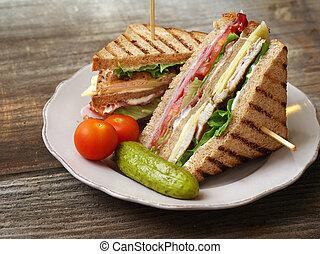 Club sandwich - Photo of a club sandwich made with turkey,...