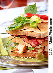Club sandwich - Toasted bread with grilled turkey meat and ...