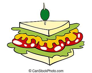club, sandwich.