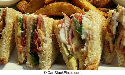 Club sandwich with chicken meat