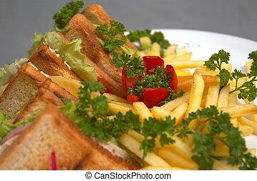 club sandwich with french fries - tasty juicy club sandwich...