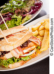 Club sandwich with potato French fries - Club sandwich on ...