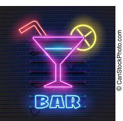 club, scuro, sbarra, alcool, banner., parete, gas, neon, ardendo, segno, cocktail, fondo., invitation., pubblicità, notte, mensa, mattone, bere, shake., occhiali