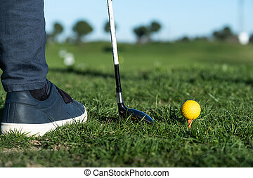 club, serie, scarpe, primo piano, guida, palla, golf