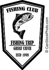 club., signe, illustration, étiquette, élément, peche, saumon, fish., conception, vecteur, emblème, logo, poster., gabarit