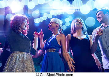 club, sourire, amis, danse