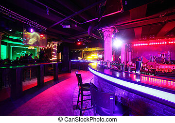 club, stile, moderno, europeo, notte