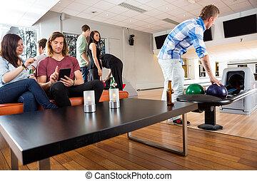 club, temps, loisir, bowling, amis, avoir