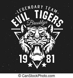 club, tigres, sport, ligue, écusson, équipe, université