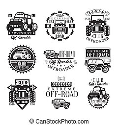 club, transport, emblèmes, quadricycle, atv, silhouettes, noir, blanc, de-route, ensemble, vélo, loyer, quad