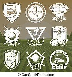 club, vendange, golf, logos