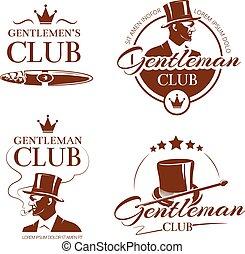 club, vendange, monsieur, vecteur, étiquettes, emblèmes, insignes