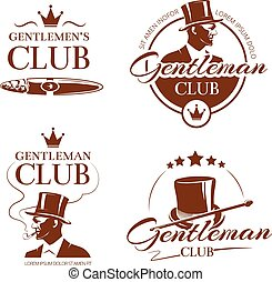 club, vendemmia, gentiluomo, vettore, etichette, emblemi, tesserati magnetici