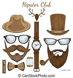 club, vendimia, hipster, accesorios