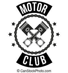 club, vendimia, señales, motor, etiqueta
