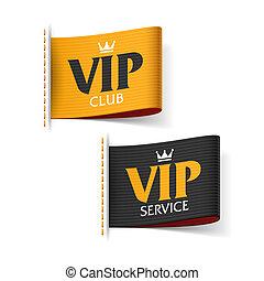 club, vip, étiquettes, service