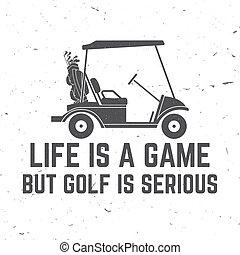 club, voiture., golfeur, golf, concept